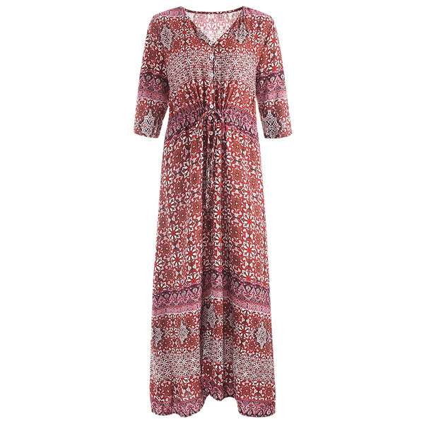 Printed Button Up Drawstring Maxi Dress