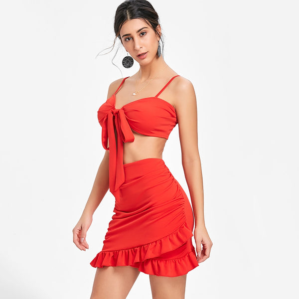 Tie Up Bra Top and Bodycon Ruffle Skirt