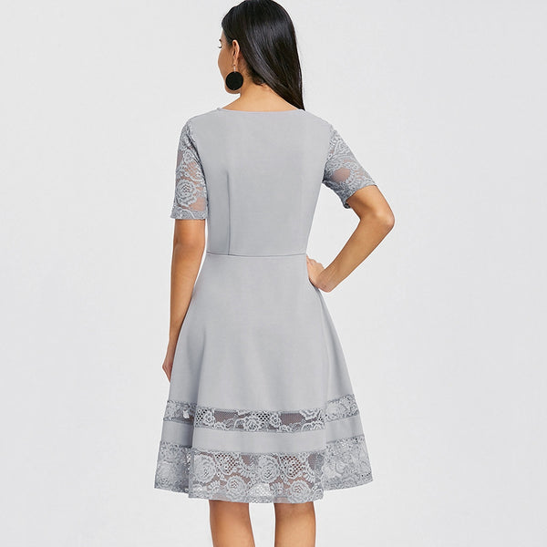 Lace Panel Fit and Flare Dress