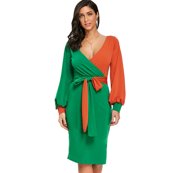 Belted Surplice Neck Color Block Bodycon Dress