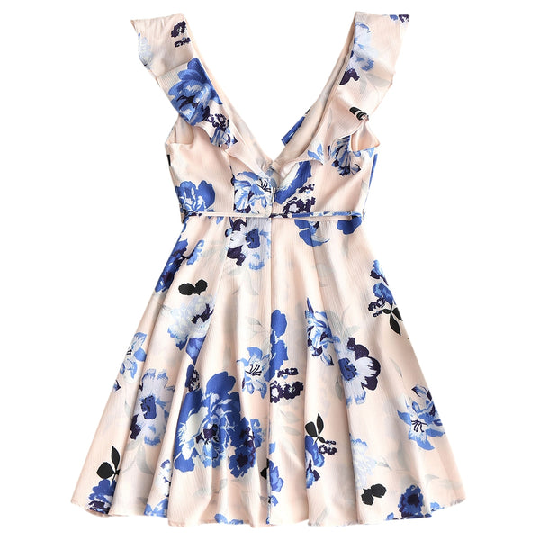 Flower Frilled Skater Dress