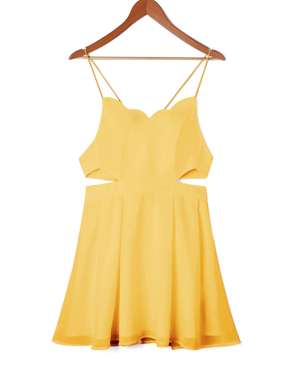 Mini Side Cut Out Scalloped Slip Dress