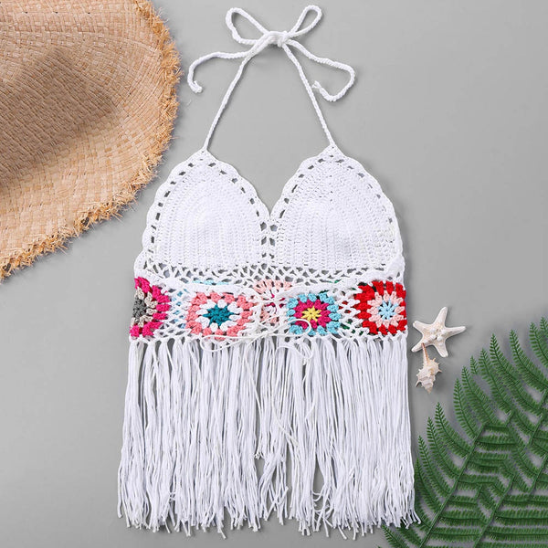 Tie Neck Fringed Crochet Swim Top