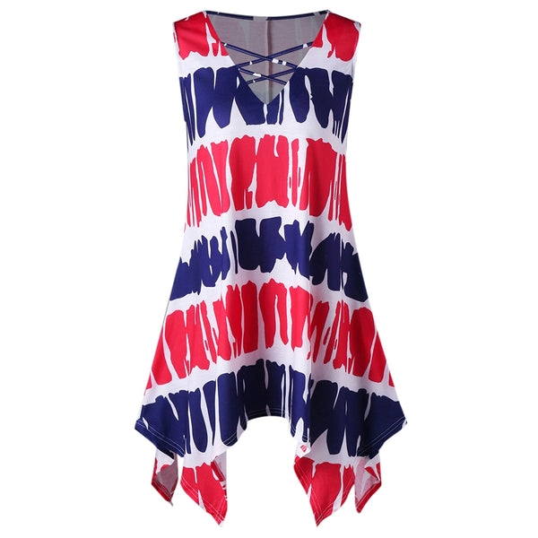 Sleeveless Printed Tunic Handkerchief T-shirt