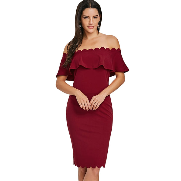 Off The Shoulder Ruffled Bodycon Scalloped Dress