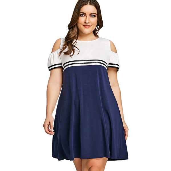 Plus Size Double Striped Open Shoulder Dress