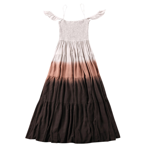 Gradient Color Long Tiered Dress