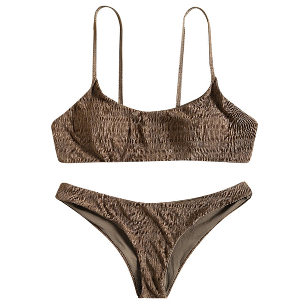 Cami Strap Shirred Bikini Set
