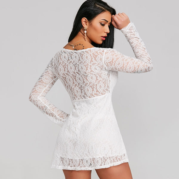 Plunging Neckline Lace Mini Dress