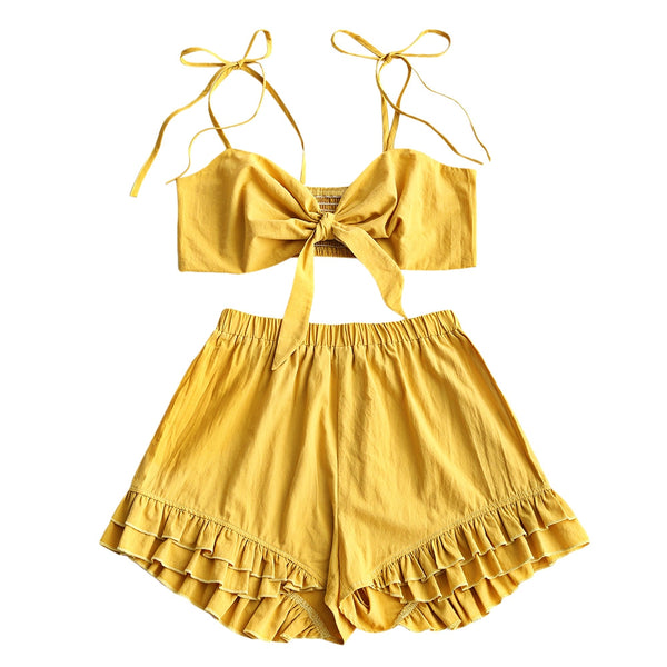 Smocked Crop Cami Top with Shorts Set
