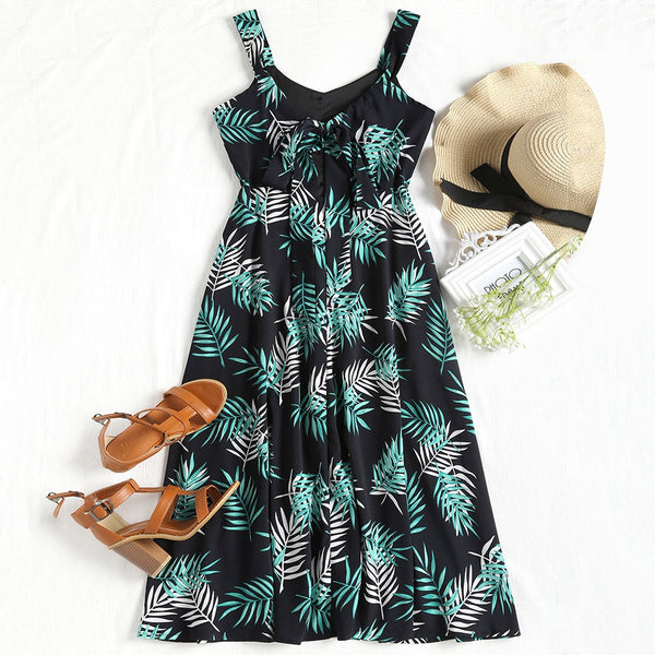 Leaves Print High Waist Sleeveless Dress