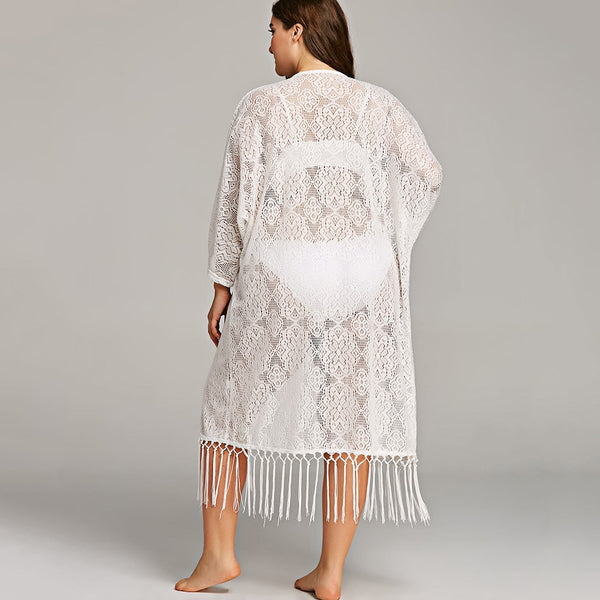 Plus Size Fringe Embellished Lace Cover Up