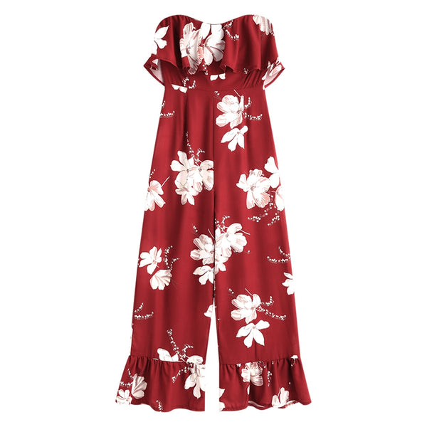 Overlay Floral Flounce Jumpsuit