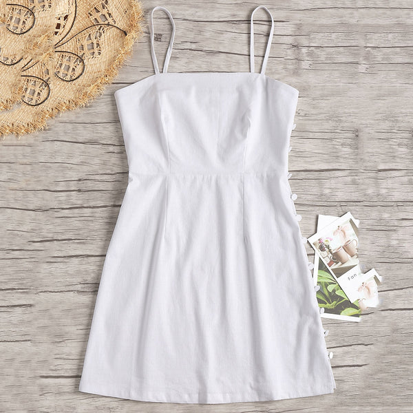 Side Buttoned Slip A Line Dress