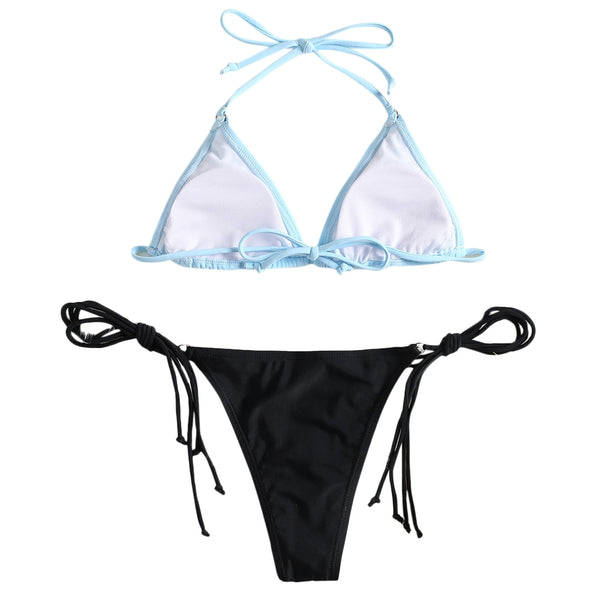 Two Tone String Bikini Set