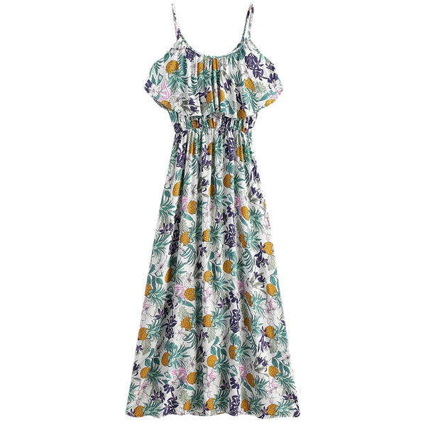 Pineapple Print Cold Shoulder Maxi Dress