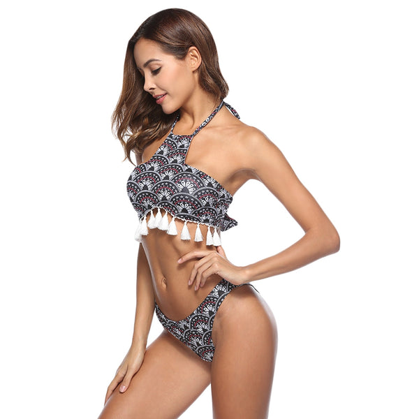 Halter Neck Backless Fringed Print Low Waist Women Bikini Set