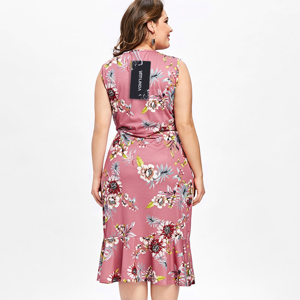 Plus Size Sleeveless Ruffle Hawaiian Dress | bestdress1.com