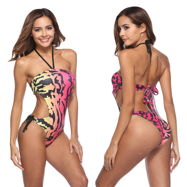 Halter Neck Backless Tied Strap Print Women Swimsuit