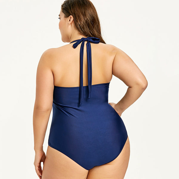 Plus Size Double Breasted Navy One Piece Swimwear