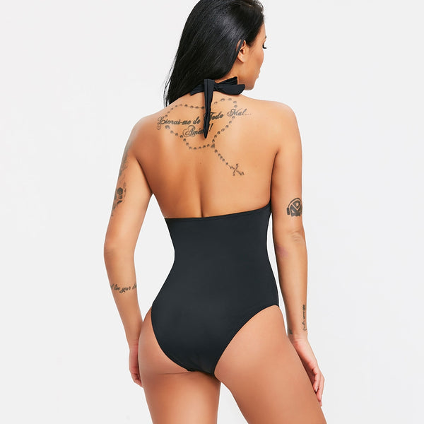 Halter Cut Out Backless One Piece Swimsuit