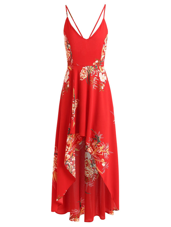 Floral Lace Up Asymmetrical Maxi Dress