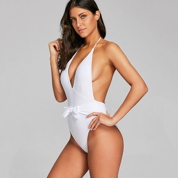 Plunge Low Back Knot Swimsuit