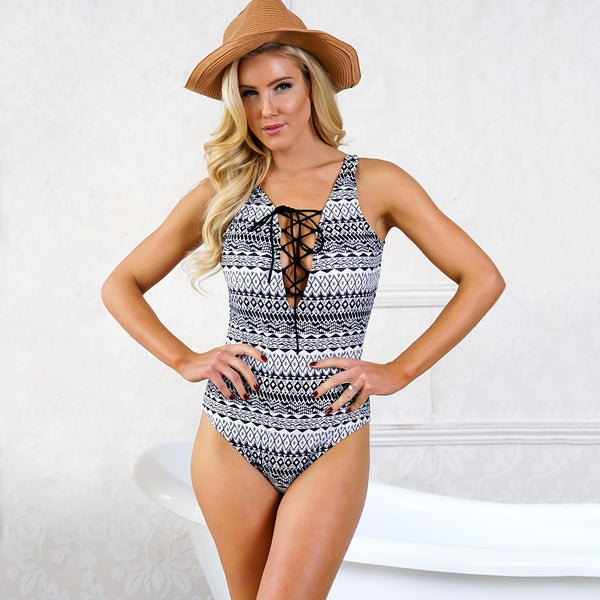 Plunging Neck Lace-up One Piece Swimsuit