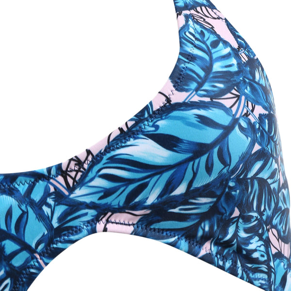 Boho Leaves Print One Piece Swimsuit