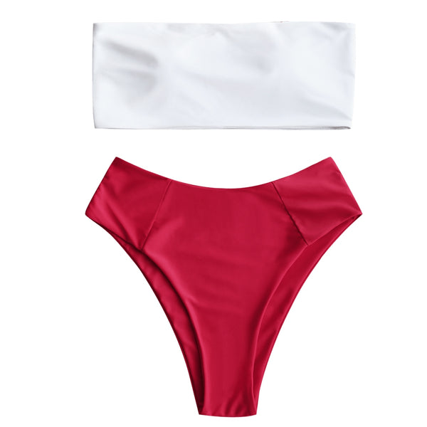 Two Tone High Cut Bandeau Bikini Set
