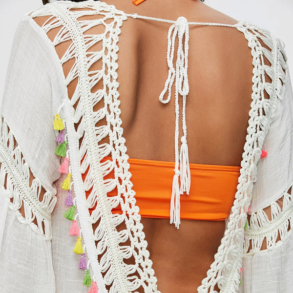 Colored Tassel See-Through Crochet Tunic Cover Up