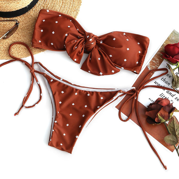 Self-tie Dotted Bandeau Bikini Set