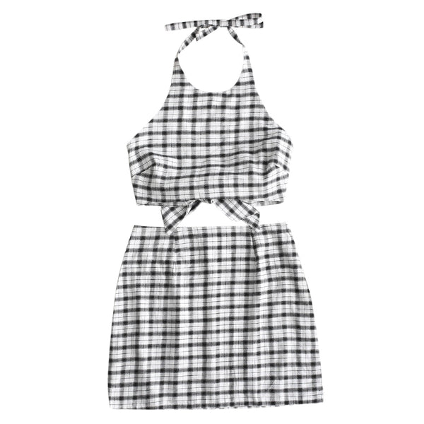 Halter Crop Plaid Top with Skirt Set