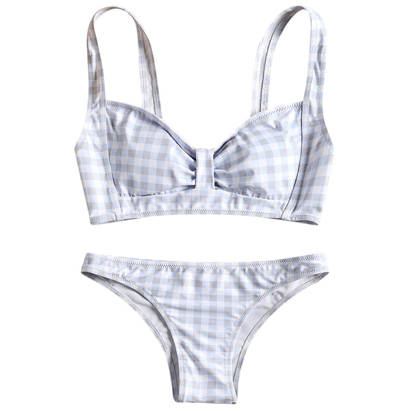 Checked Bow Bikini Swimsuit