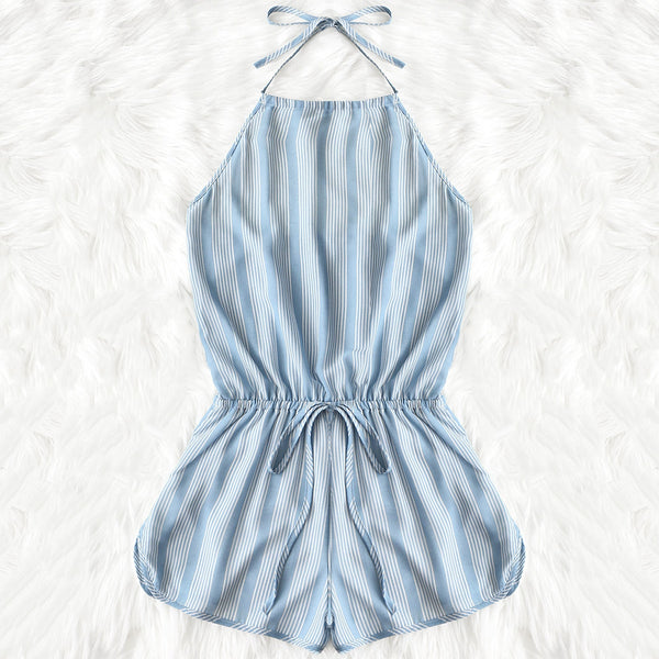 Tied Drawstring Stripes Romper