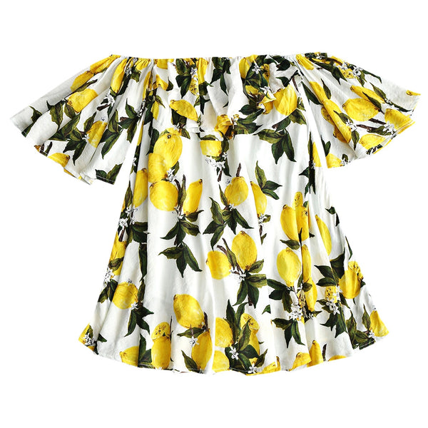 Off Shoulder Lemon Print Mini Dress