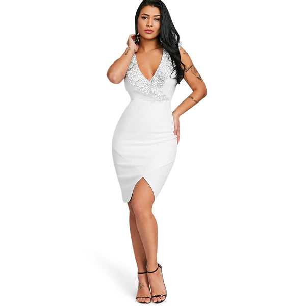 Plunging Neckline Applique Bodycon Dress