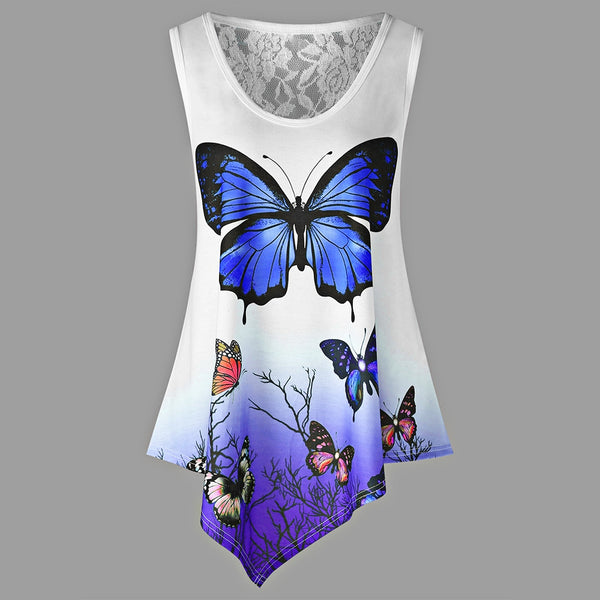 Asymmetrical Butterfly Print Ombre Color Tank Top