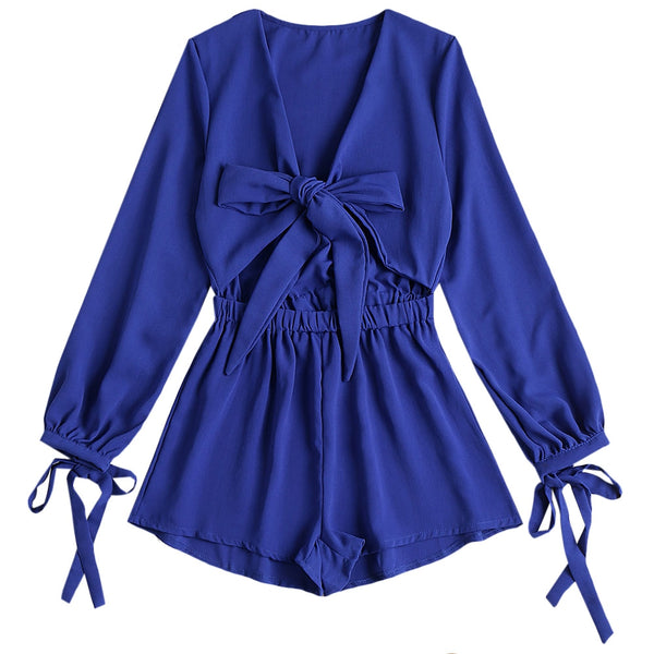 Low Cut Bowknot Cut Out Romper