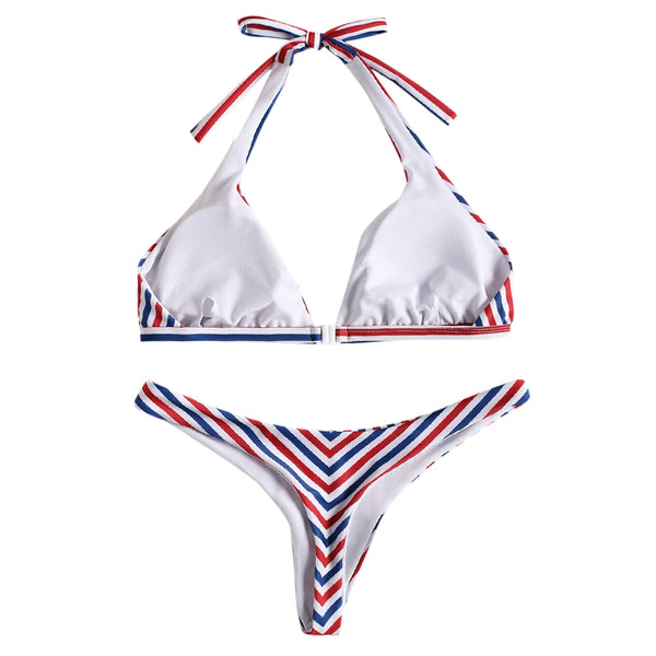 Colorful Stripe Halter Bikini Set
