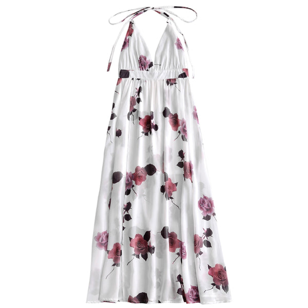 Backless Slit Flower Maxi Dress