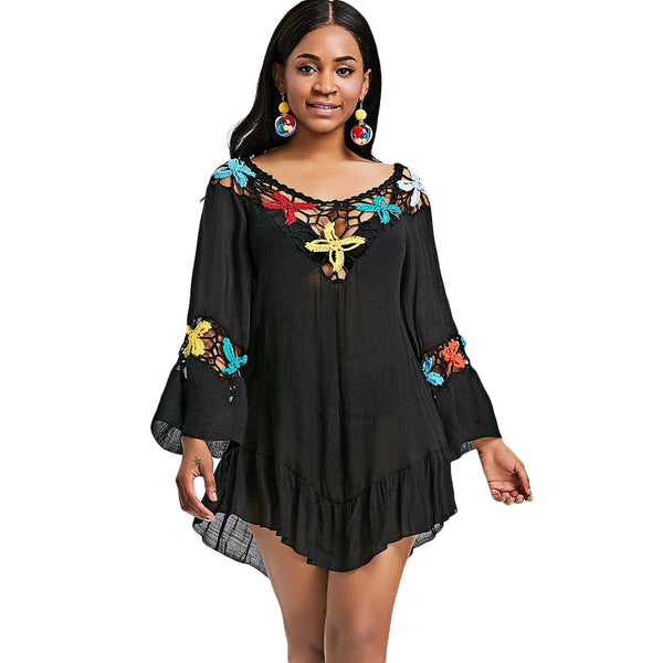 Flare Sleeve Crochet Insert Tunic Cover Up