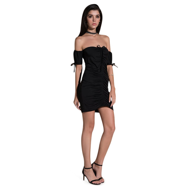 Strapless Short Sleeve Ruched Bodycon Women Mini Dress