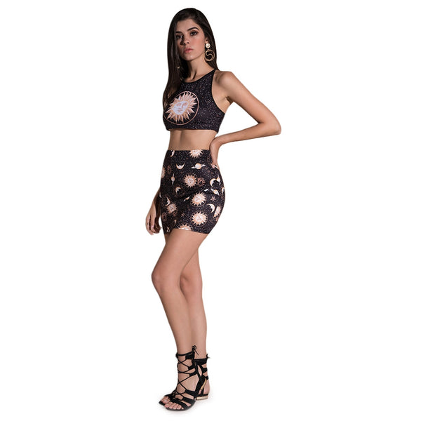 Round Collar Backless Print Women Crop Top with Mini Skirt