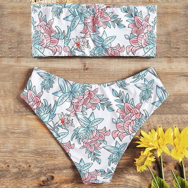 Bandeau Floral High Waisted Bathing Suit