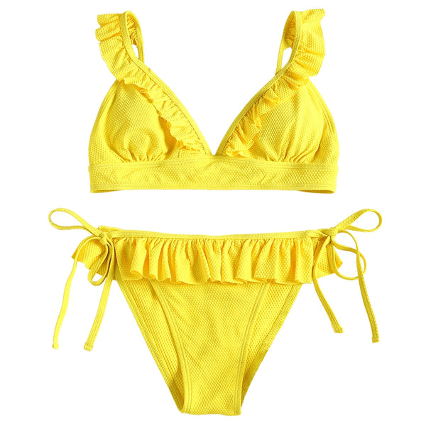 Frilled Hem Textured Tie Side Bikini Set