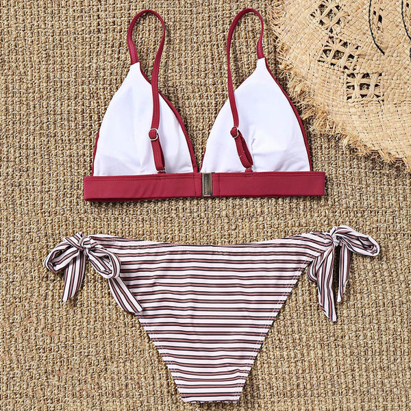 Padded Bra and Striped Tie Side Bikini Bottoms