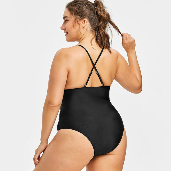 Plus Size Spaghetti Strap Backless Swimsuit