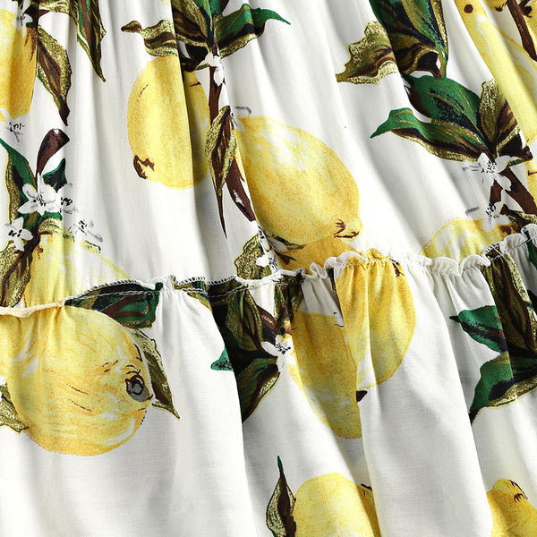 Lemon Print Mini Strapless Dress