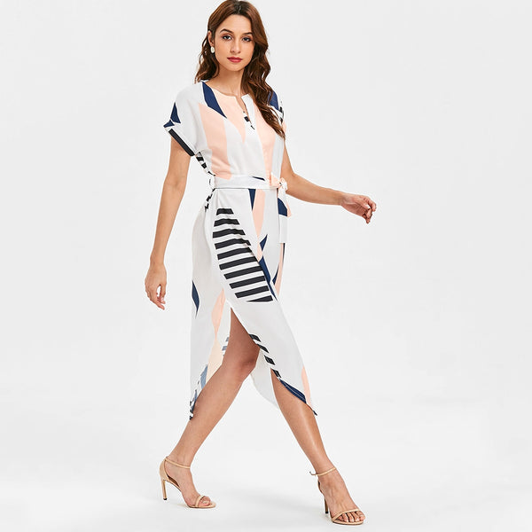 Geometric Print Midi Dress with Blet